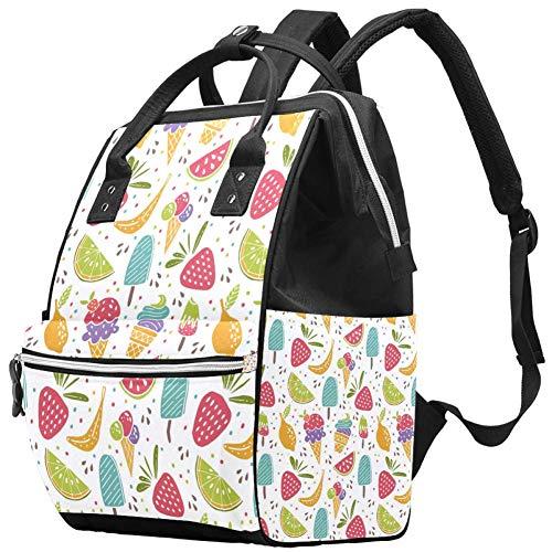 Desserts sucrés Glace Fruit Nappy Changing Bag Diaper Sac à dos avec poches isolées, sangles de poussette, grande capacité multifonctionnel élégant sac à couches pour maman papa en plein air
