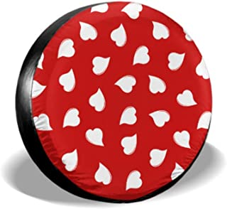 KUneh Happy Valentines Day Love Heart On Red Spare Tire Protector Manual Tire Cover Tire Cover Waterproof Uv Sun 14 - 17 Fit for Jeep Trailer Rv SUV and Many Vehicle