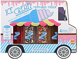Thoughtfully Gifts, Ice Cream Toppings and Milkshake Truck, Pack of 4 Includes Chocolate/Vanilla Sprinkles, Rainbow Sprinkles, and Strawberry and Caramel Milkshake Flavorings