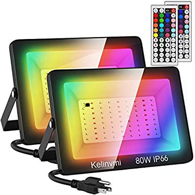 Kelinvmi 2 Pack 80W LED RGB Flood Lights, Dimmable Color Changing Floodlight with 44 Keys Remote, IP66 Waterproof Outdoor Colored Wall Washer Uplighting for Indoor, Party, Garden,Landscape,Stage