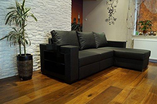 Quattro Meble zwart echt lederen hoekbank Mallorca 245 x 156 cm sofa bank met bedfunctie en bedkast hoek bank echt leer Hermes Nero