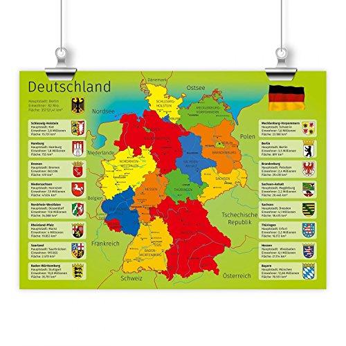nikima - Kinder Lernposter Deutschland mit Bundesländern - Plakat für Kindergarten Schule Schulanfang Schuleintritt Einschulung Kinderzimmer Deutschlandkarte - Größe DIN A3-420 x 297 mm