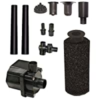 Beckett Corporation 500 GPH Submersible Pond Water Pump Kit with Prefilter and Nozzles - Pump for Indoor and Outdoor Ponds, Fountains, Water Gardens, Fish Aquariums, and Waterfalls, 6.6' Max Fountain Height, Black