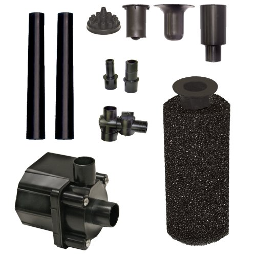 Beckett Corporation 500 GPH Submersible Pond Pump Kit with Prefilter and Nozzles - Water Pump for Indoor/Outdoor Ponds, Fountains, Fish Tanks, Aquariums, and Waterfalls - 6.6' Max Fountain Height, Black