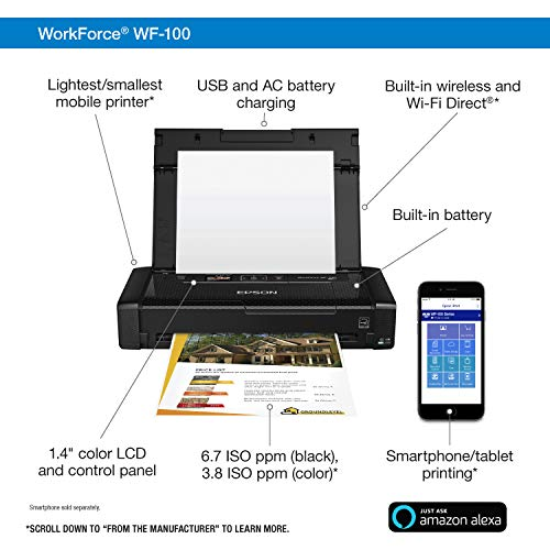 Epson Workforce WF-100 Wireless Color Mobile Printer, Compatible with Alexa (Renewed) Photo #3