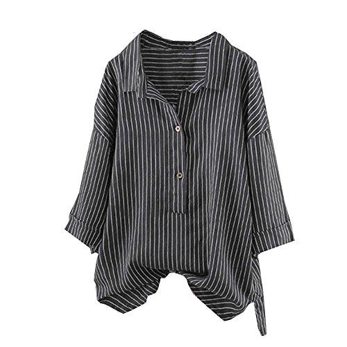 NEEKY Neue Deals! Damen Langarm T Shirt, Frauen Knopf-Oben Pullover Gestreift Tops Große Größen Tunika Bluse(EU:42/CN:M, Schwarz)