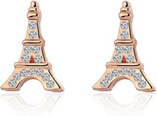 MYANAIL Eiffel Tower Stud Earrings, Inlay Zircon Rose Gold Silver Earrings Jewelry for Women