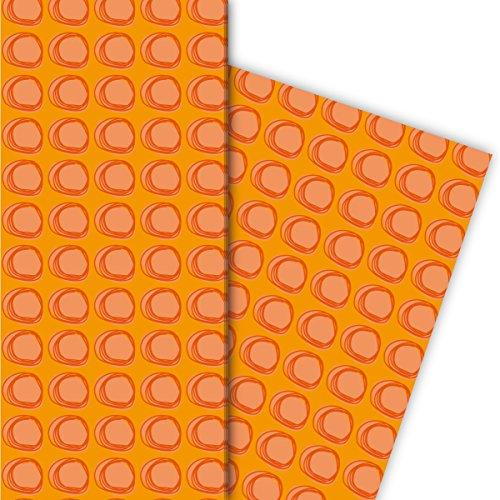 Modern cadeaupapier set (4 vellen) | Decorpapier met ringen voor een leuke geschenkverpakking voor doop, geboorte, Pasen, verjaardag, huwelijk, Kerstmis en nog veel meer. 32 x 48 cm, oranje