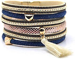 Magnetic Clasp Multilayer Women and Girls Bracelet Leather and Denim