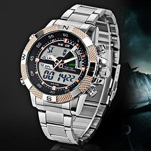 『Weide メンズウオッチ ステンレススチール 高級デザイン感 男性用 腕時計 アナデジ表示』のトップ画像