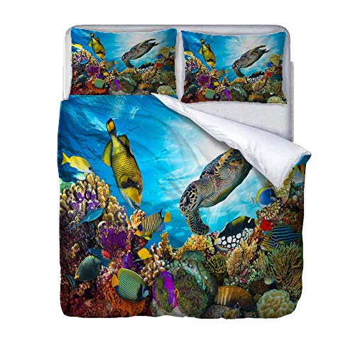 SUZIHUA Double Duvet Cover With 2 Pillowcases,Sea Fish,With Zipper Closure In Polyester Printed Quilt Cover Bedding Set 3Pcs,Quilt Cover Bedding Set 3Pcs