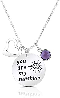 SUMMER LOVE Engraved Message You are My Sunshine Pendant Necklace 18