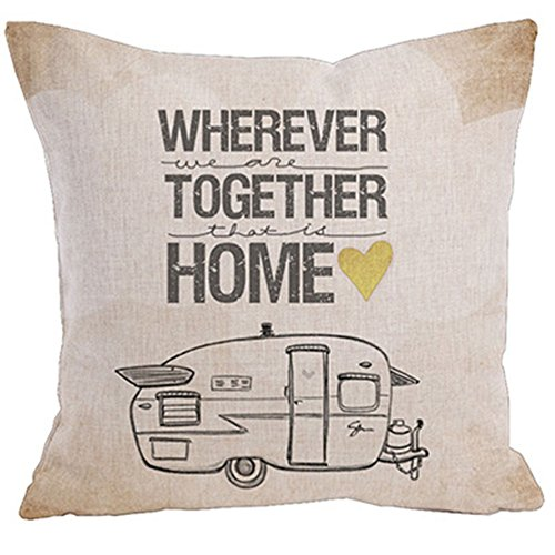 KACOPOL Cute Retro RV Happy Campers Throw Pillow Cover Cotton Linen Home Decor Sofa Waist Pillowcase Cushion Cover Square for Travel 18x18 Inches (Wherever We are Together That is Home)