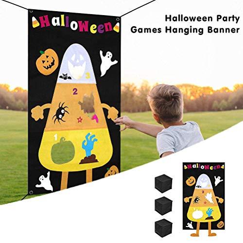 Sahgsa Juegos de Lanzamiento de Halloween Juego de Lanzamiento de Calabaza Bolsas de Arena de Fieltro pancartas de Regalo para niños niño Accesorios