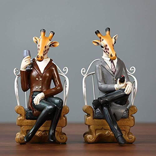 HYY-YY Europäische Retro-Tier-Giraffe, 2 Stück, Dekoration für Wohnzimmer, TV-Schrank, Veranda, Fenster, Basteln, Heimtextilien, 12 x 14 x 25 cm + 12 x 14 x 25 cm