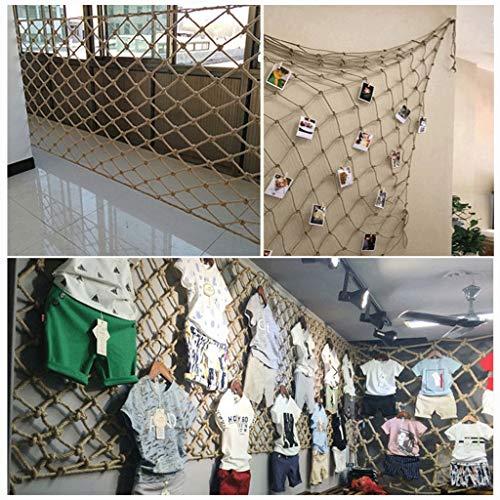 WWWANG Kindersicherheitsnetz Hanfseilnetz, Fallschutz Sicherheitsnetz Retro dekorative Netztrennwand, hängende Fotowand Klettern multifunktionales Hanfseilnetz (Size : 4 * 4m)
