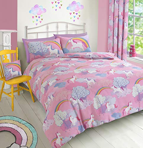Velosso Magical Rainbow Unicorn Kids Cotton Rich Bedding Set/Duvet Cover Set (Single Bed)