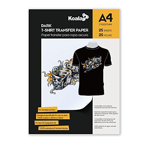KOALA Papel de transferencia de tinta para camisetas de oscuros, 25 hojas, A4.