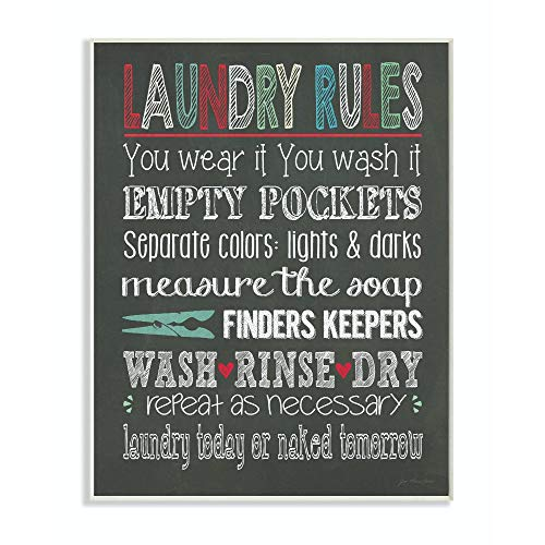 Stupell Home Décor Laundry Rules Typography Chalkboard Bathroom Wall Plaque, 10 x 0.5 x 15, Proudly Made in USA