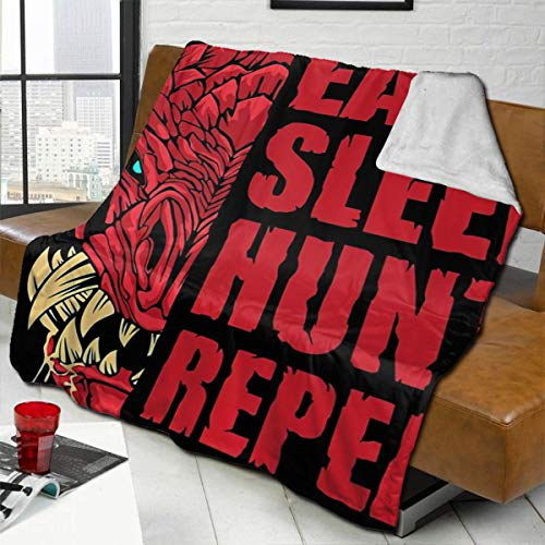 zblin Eat Sleep Hunt Repeat Odogaron Boutique Blankets Soft Comfortable Plush Microfiber Flannel Blanket 60x50inch