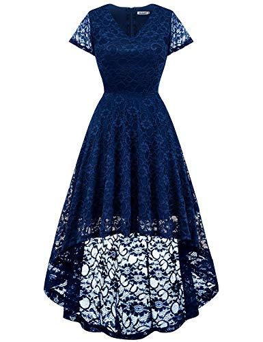 Bbonlinedress Damen Vintage Vokuhila Spitzen Kurzarm Unregelmässig Brautjungfern Abendkleider Navy 2XL