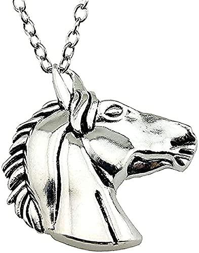 WYDSFWL Collares Moda 52x51mm Collar con Colgante de Cabeza de Caballo Grande Collar Regalo de Color Plata Antigua