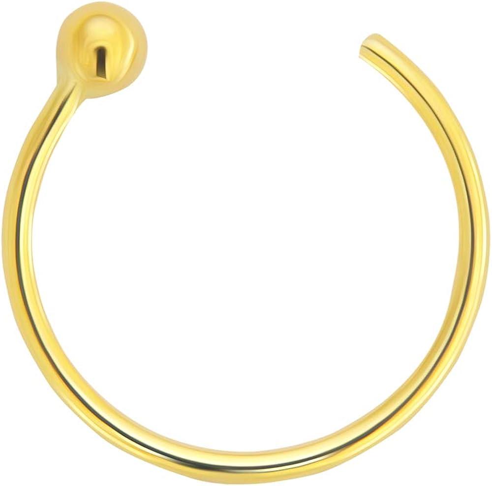 9K Solid Gold 22 Gauge - 6MM Diameter Open Hoop Ball End Nose Ring Body Piercing Jewelry