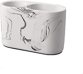 DKX Cement Double Hole Pen Holder, Desktop Office Storage Storage Tube, Creative Decorative Ornaments (Color : Ink)