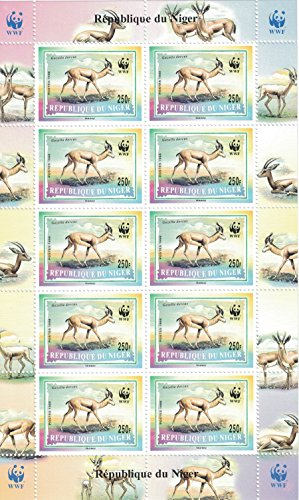 Briefmarken für Sammler – perforfated Stempel Tabelle mit WWF (World Wildlife Fund)/Republik Niger/Wild Animals/Gazelles