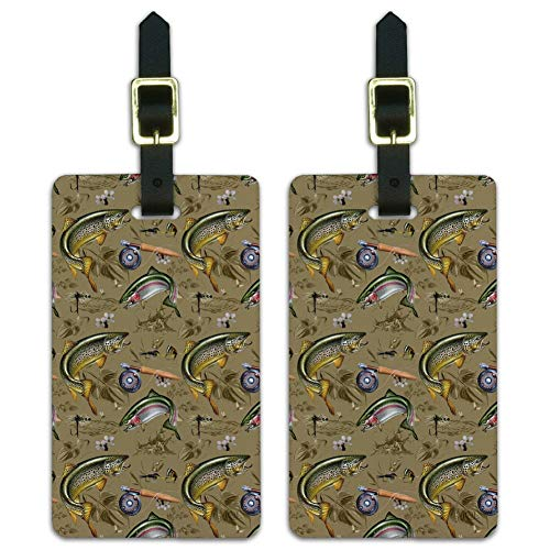 Trout Stream Fish Fly Fishing Rod Reel Luggage ID Tags Carry-On Cards - Set of 2