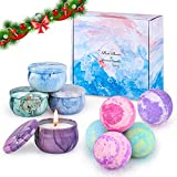 OFUN Bath Bombs Gift Set for Women, 5 Color Natural Essential Oil Aroma Bubble Bath with 4pcs Scented Candles, Fizzy Spa for Moisturizing Skin, Idea Gifts for Lover, Mom, Girlfried