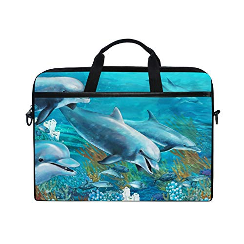 KEAKIA The Underwater Dolphins Laptop Bag Shoulder Messenger Bag Simplicity Slim Briefcase Commuter Bag Case Business Sleeve Carrying Handle Bag for 14 inch to 15.6 inch Laptop Notebook