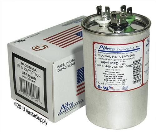 60 + 5 uf/Mfd Round Dual Universal Capacitor Replacement Amrad USA2220B Replacement - Used for 370 or 440 VAC, Made in The U.S.A.