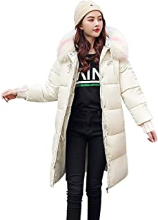 E-Scenery Women's Coats Fashion Hooded Faux Fur Collar Cotton-Padded Pocket Long-Sleeved Jacket