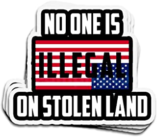 Jarky Love 3 PCs Stickers No One is Illegal On Stolen Land 4 × 3 Inch Die-Cut Decals for Laptop Window
