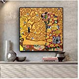 AundD Gustav Klimt das Fulfillment-Ölgemälde auf Leinwand Poster & Drucke Wandbild für Wohnzimmer -60x60cmx1pcs- Kein Rahmen