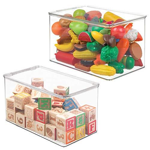 mDesign Juego de 2 Cajas de almacenaje con Tapa – Organizador de Juguetes de plástico – Cajas para Juguetes apilables para el Dormitorio de los niños – Transparente