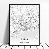NOVELOVE Brest Frankreich Stadtplan Poster HD Drucke