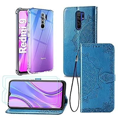 [2 Pack] Funda para Xiaomi Redmi 9 + Protector de Pantalla Cristal Templado, Carcasa Libro con Tapa Antigolpes Case Silicona TPU Color Transparente + Azul