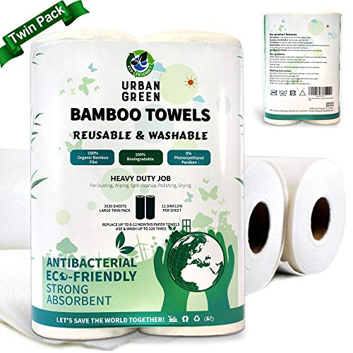 Reusable Bamboo Towels by Urban Green, Large size 2 rolls 60 sheets (Heavy Duty), Reusable, Washable, Biodegradable, Paper Towels Replacement