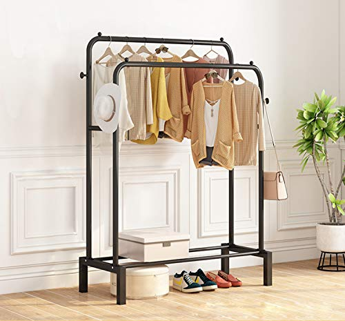 Clothing Garment Rack, Upgraded Length Cloth Hanger Rack Stand, Clothes Drying Rack with Two Rod (black)