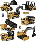 Construction Trucks Toy Set, Geyiie Upgraded Construction Vehicles Site for Kids Engineering Toys Playset for Boys, Pull Back Cars Excavator Digger Tractor Bulldozer Dump Cement Gifts for Party Favor