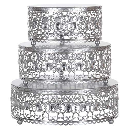 Amalfi Decor Cake Stand Plateau Riser Round Metal Pedestal Holder with Crystal Gems Silver Set of 3