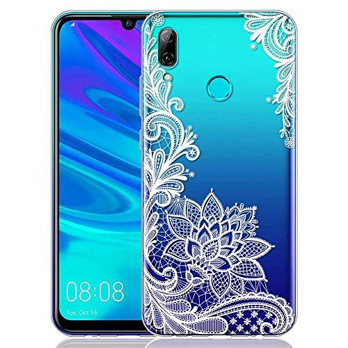 ZhuoFan Coque Huawei P Smart 2019, Etui en Silicone 3D Transparente avec Motif Peinture Dessin Antichoc TPU Housse de Protection Coque pour Téléphone Huawei PSmart 2019 6,21 Pouces, Fleur Blanc