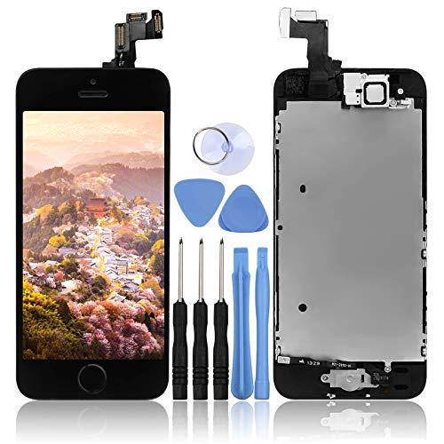 LL TRADER Touchscreen für iPhone 5S/SE Schwarz, Retina LCD Ersatz Display Reparaturset Digitizer Assembly Vormontiert mit Home Button, Hörmuschel, Frontkamera, Näherungssensor und Werkzeug