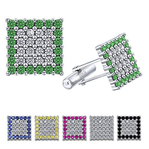 [2-5 Days Delivery] Men's Sterling Silver .925 Square Cufflinks with Cubic Zirconia (CZ) Stones, Surrounded by Simulated Emerald Stones, Platinum Plated, Secure Solid Hinges, 15 mm Square.