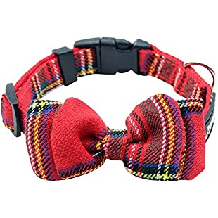 SCENEREAL CO. Plaid Dog Collar Adjustable with Movable Bow Tie,Red Neck Girth 21-31 cm