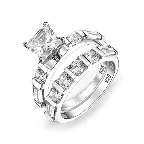 Bling Jewelry Deco Estilo 2CT Cuadrado Princesa Corte Solitario Baguette Banda AAA CZ Compromiso Alianza Anillo de Boda para Las Mujeres de Plata de Ley