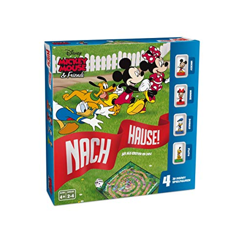 ASS 22501061 Mickey Mouse & Friends-Nach Hause-Das Würfelspiel um den Wettlauf zum Ziel mit Micky, Minnie, Donald und Pluto als detailgetreuen 3D Disney Spielfiguren