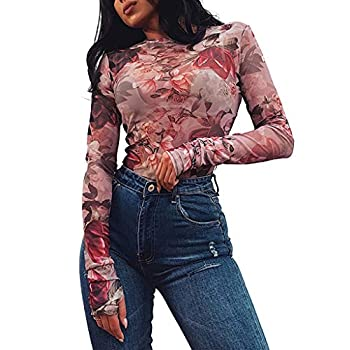 Fine Sexy for Women Mesh Flower Print Perspective O-Neck T-Shirt Black  Red S